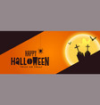 happy halloween spooky banner with grave and ghost vector image