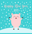 happy new year 2019 pig on snowdrift falling vector image vector image