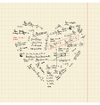 heart shape with math formulas vector image vector image
