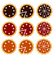 homemade pie set with different fruit filling vector image