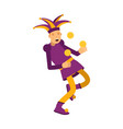 medieval jester character juggling with balls vector image vector image