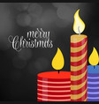 merry christmas candle glowing background vector image vector image