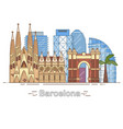 minimal barcelona city linear skyline - outline vector image