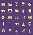 movie color icons on purple background vector image vector image