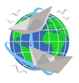paper boats sail around planet earth vector image