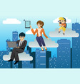 people using different mobile device in clouds vector image vector image