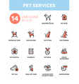 Pet services - modern single line icons set
