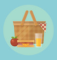 picnic basket and food flat apple blanket vector image