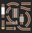 rail or railroad railway top view vector image