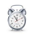 realistic clock with bells in metallic vintage vector image