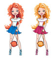 set cute fashionable girls vector image