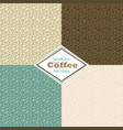 set of patterns with hand drawn coffee beans vector image