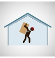 silhouette worker carrying box storage vector image vector image