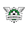 soccer team logo with a ball and wings on a green vector image