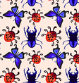 stag beetle butterfly and ladybug seamless pattern vector image
