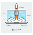 start up flat thin line concept vector image vector image