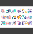 stylized funky animals standing next to digits vector image