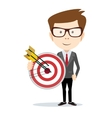 Successful businessman holding a target with arrow vector image vector image