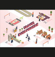 travel everywhere how work airport isometric vector image vector image