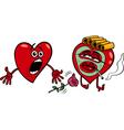 two hearts cartoon vector image vector image