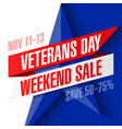 veterans day weekend sale banner template vector image vector image