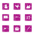 village food icons set grunge style vector image vector image