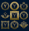 vintage monograms set of y letter vector image