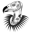 vulture head with tattoo vector image