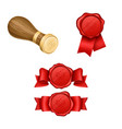 wax sealing and royal stamp realistic vector image vector image