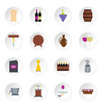 wine icons set in flat style vector image vector image