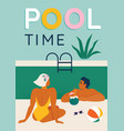 young couple relaxing pool seated swimming vector image