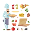 Cartoon set with ingridients of pizza vector image