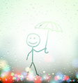 a man with an umbrella painted on Sweaty Window vector image vector image