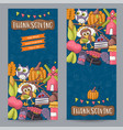 a set of thanksgiving vertical banners happy vector image