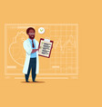 african american doctor holding clipboard with vector image vector image