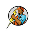 african american electrician lightning bolt mascot vector image