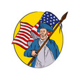 american patriot holding flag drawing vector image