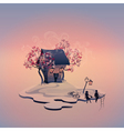 Autumn landscape with brick house on the island vector image vector image