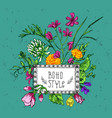 beautiful hand drawn floral vector image vector image
