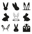black and white easter bunny silhouette set vector image vector image
