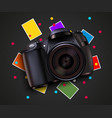 camera and pictures photo shooting background vector image vector image
