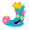cartoon capital letter j from monster alphabet vector image vector image