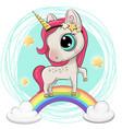 cartoon unicorn is on the rainbow vector image