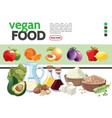 cartoon vegetarian food elements collection vector image vector image