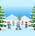 cheerful kids playing in the snow vector image vector image