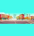 city street with houses and overpass road vector image vector image