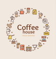 coffee house signs round design template thin line vector image vector image