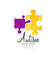creative logo for autism awareness day vector image vector image