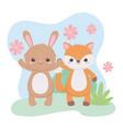 cute fox rabbit flowers foliage cartoon animals in vector image vector image