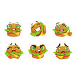 cute kawaii hamburger character with different vector image vector image